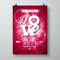 Illustrazione di giorno di biglietti di S. Valentino con progettazione di tipografia di amore su fondo brillante.