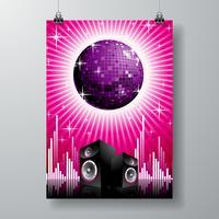 illustrazione vettoriale per tema musicale con altoparlanti e palla da discoteca sullo spazio del testo.