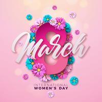 8 marzo. Cartolina d'auguri floreale del giorno delle donne felici