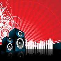 illustrazione di musica con l'altoparlante su sfondo rosso vettore