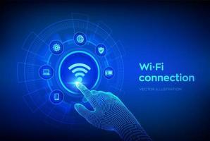 concetto di connessione wireless wi-fi. tecnologia del segnale di rete wifi gratuita vettore