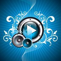 illustrazione vettoriale per tema musicale con pulsante di riproduzione e altoparlanti