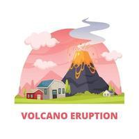 illustrazione vettoriale della composizione del disastro dell'eruzione del vulcano