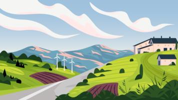 Calmo paesaggio di campagna primaverile vettore