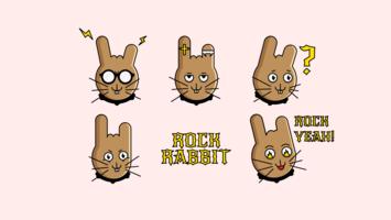Confezione di cartoni animati Rock Rabbit Sticker vettore
