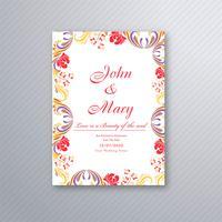 Bella carta di invito a nozze con disegno floreale colorato