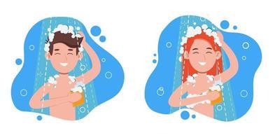 donna e uomo che fanno la doccia mattutina in bagno. lava la testa vettore