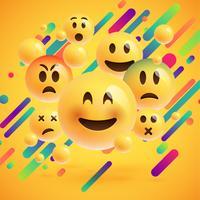 Emoticon gialli con sfondo astratto, illustrazione vettoriale