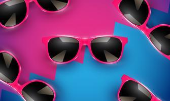 Occhiali da sole di vettore realistico su uno sfondo colorato, illustrazione vettoriale