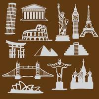 set di icone di monumenti famosi vettore