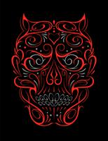Reticolo rosso di figura astratta del cranio