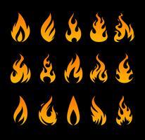 Icone di fuoco vettoriale