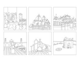 luogo di culto gurudwara, set di clip art di disegno a tratteggio vettore