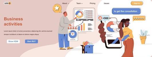 banner web di attività commerciali per materiali promozionali sui social media vettore
