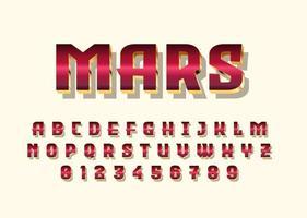 carattere vettoriale in stile oro rosso cromato marte con maiuscolo e numero di cifre
