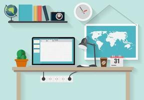 posto di lavoro moderno ufficio interno design piatto illustrazione vettoriale