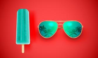 Occhiali da sole realistici con gelato su sfondo colorato, illustrazione vettoriale