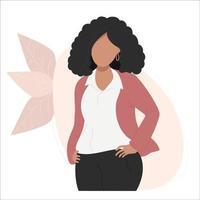 donna d'affari etnica nera sta con le mani sulla cintura vettore
