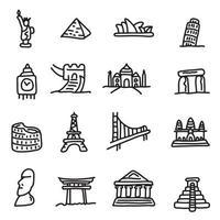 set di icone di punti di riferimento di viaggio set vettoriale