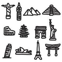 punti di riferimento di viaggio in tutto il mondo set di icone vettore