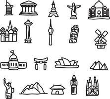 set di icone di punti di riferimento di viaggio illustrazione vettoriale