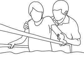 medico che aiuta la donna a camminare con il supporto di barre in palestra vettore