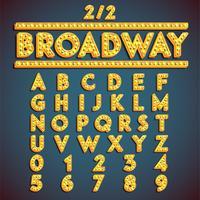 Fontset 'Broadway' con lampade, illustrazione vettoriale