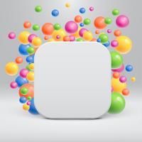 Modello bianco vuoto con palline colorate che galleggiano intorno per la pubblicità, illustrazione vettoriale