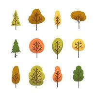 set di icone dell'albero autunnale vettore
