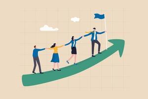 il lavoro di squadra coopera insieme per raggiungere l'obiettivo, la leadership costruisce il team vettore