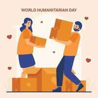 volontari della giornata mondiale umanitaria persone che tengono scatole di cartone vettore