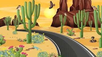 strada attraverso la scena del paesaggio della foresta del deserto con animali del deserto vettore