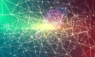 Astratto sfondo colorato poligonale con punti e linee collegate, struttura di connessione, sfondo futuristico hud, immagine di alta qualità con parti sfocate