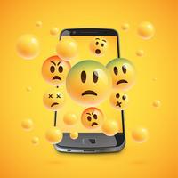 Emoticon 3D con smartphone realistico, illustartion di vettore