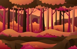 paesaggio autunnale della foresta vettore