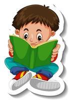 modello di adesivo con un ragazzo che legge un personaggio dei cartoni animati del libro isolato vettore