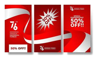 banner di promozione delle vendite offerta speciale evento del giorno dell'indipendenza dell'indonesia vettore