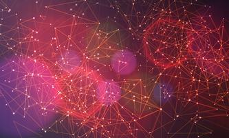 Astratto sfondo colorato poligonale con punti e linee collegate, struttura di connessione, sfondo futuristico hud, immagine di alta qualità con parti sfocate vettore