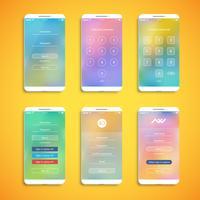 Set UI semplice e colorato per smartphone - schermata di login, illustrazione vettoriale