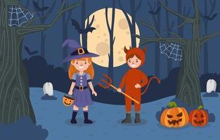 scenario notturno festa in costume festa di halloween vettore