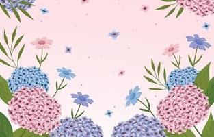 sfondo di ortensie floreali di bellezza vettore