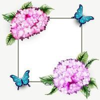 cornice di sfondo floreale ortensia con farfalla vettore