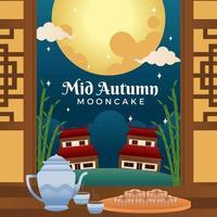 allettante torta della luna e tè posizionati vicino all'ingresso vettore