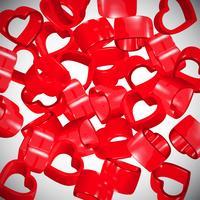 Cuori rossi 3D diffusione, vettore