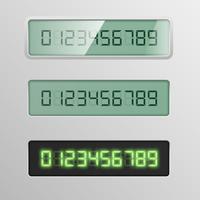 Set di caratteri digitali da un carattere tipografico su 3 diversi schermo, illustrazione vettoriale