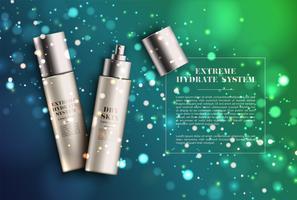 Prodotto spray realistico realistico per la pubblicità, illustrazione vettoriale