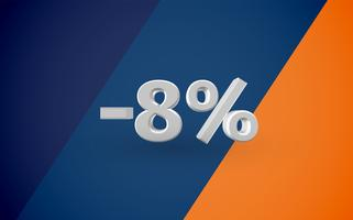 Illustrazione di vendita 3D con percentuale, vettore