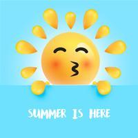 """Divertente sole-smiley con il titolo """"L'estate è qui"""", illustrazione vettoriale"""
