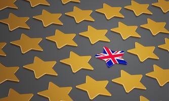 Illustrazione con stelle per BREXIT - Gran Bretagna che lascia l'UE, vettore