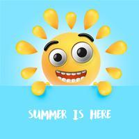 Emoticon soleggiato felice altamente dettagliato, illustrazione di vettore